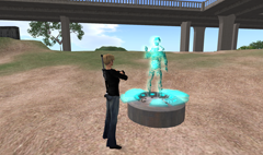 Conversing with Iniaes in Second Life.