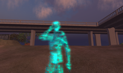 The bot as it appears in Second Life. It is roughly the size of a standard avatar.